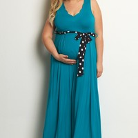 Teal-Polka-Dot-Sash-Tie-Plus-Size-Dress