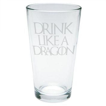 DCCKU3R Drink Like a Dragon Etched Pint Glass