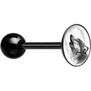 Black and White Howling Wolf Black Anodized Barbell Tongue Ring