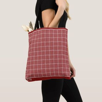 Red Weave Minor Monogram Tote Bag