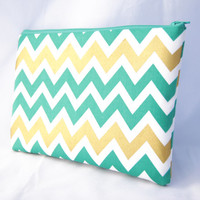Green and gold metallic chevron apple iPad mini, Kindle sleeve, tech cover, clutch