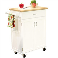 White Kitchen Cart Island with Natural Wood Top and Storage