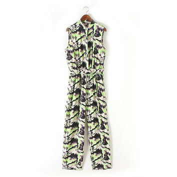 Summer Women's Fashion Stylish Print Geometric Pattern Jumpsuit [4919984324]