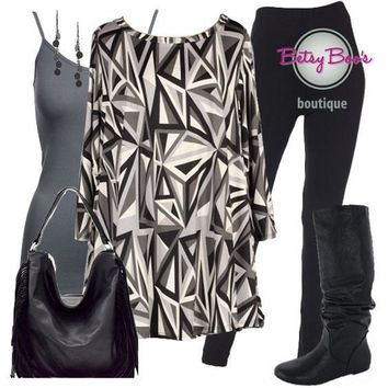 (pre-order) Set 800: Black & Gray Abstract Tunic (bag and shoes sold separately)