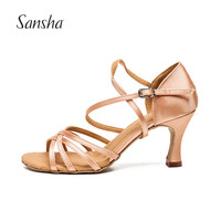 Sansha Light Tan Black Satin Latin Dancing Shoes Women's Professional Salsa Ballroom Tango Dancing Shoes 7.4CM Height BR31007S