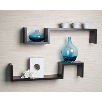 Danya B Espresso Wall Mount Shelves (Set of 2)
