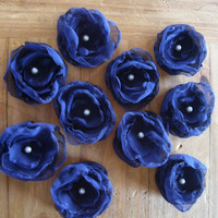 SET OF 10 Navy Blue Chiffon Flower Appliques for Hair, Bridesmaid Sashes, Pew Bows, Choose Color and Finish