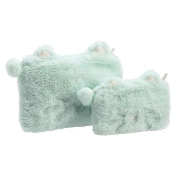 Cozy Lux Faux Fur Mint Cat Beauty Pouches, Set of 2