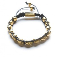 Brandy ♥ Melville |  Black Bracelet with Gold Skull Beads - Jewelry - Accessories