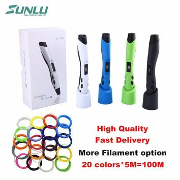 SUNLU SL-300 Children doodle toy 3D pen with 22 bags of 5M PLA filament and LCD control temperature safe for children use