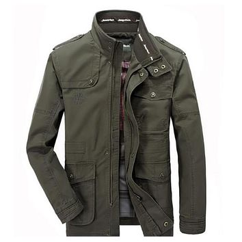 Mens Stand Collar Military Style Jacket in Army Green