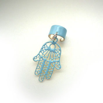 1 Glossy Blue Powder Coated Ear Cuff With Hamsa Hand