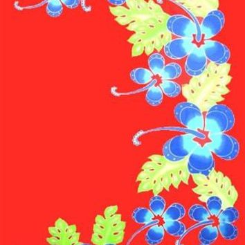 Red with Blue Hibiscus Sarong with No Fringe