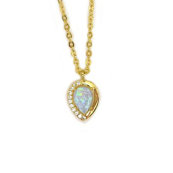 Blue Opal and Diamond Droplet Pendant