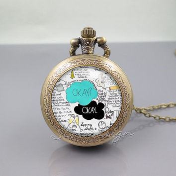 The Fault in Our Stars Pocket Watch Locket Necklace,The Fault in Our Stars OK OKAY, vintage pendant Pocket Watch Locket Necklace
