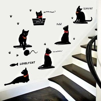 LMFUG3 Fashionable Living Room Bedroom Background Decoration Cartoon Black Cat Family Wall Stickers - Photo Color HG-WS-1807
