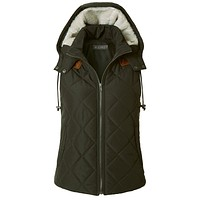 LE3NO Womens Lightweight Fully Lined Quilted Puffer Vest with Fleece Hoodie