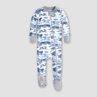 Burt's Bees Baby Boys' Organic Cotton Distressed Camo Footed Sleeper - Blue