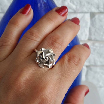 Rose ring, sterling silver, flower ring, silver rose ring, Tiny Rose Ring, gift for her, Rose Flower Ring, Silver Flower Ring, gift for her