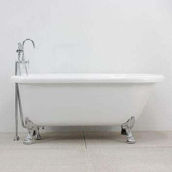 """53"""" HOTEL COLLECTION COREACRYL ACRYLIC CLASSIC CLAWFOOT TUB AND FAUCET PACK"""