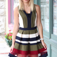 Fall Color Block V-neck Dress {Olive Mix}