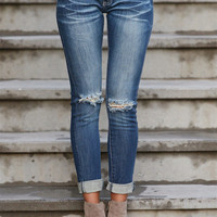 MACHINE Distressed Crop Jeans - Nicki Wash