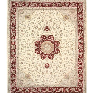 EORC Hand-knotted Wool & Silk Ivory Traditional Oriental Floral Tabriz Rug