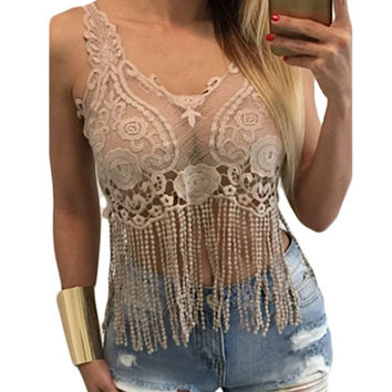Apricot Lacy Crochet Cropped Vest Top