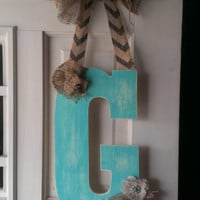 Turquoise distressed initial door hanger with burlap, initial door hanger, wooden letter, initial decor, monogram, hand painted, door decor