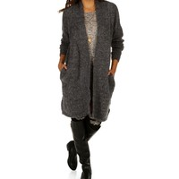 Sale-charcoal Collarless Duster Cardigan