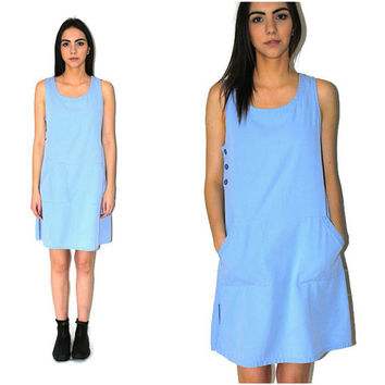 90s minimalist dress pale blue cotton oversized jumper dress os
