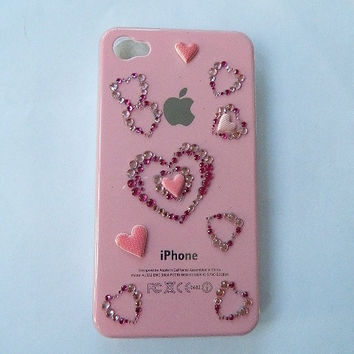 Pink I phone case hearts 4G 16GB 32GB GSM by Shop441 on Etsy