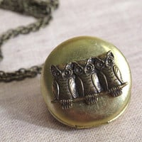 Nature Vintage Inspired. Antiqued Gold Raw Brass Locket. Brass Ox Woodlands Owls. antiqued brass Long Necklace