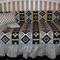 Black and Gold Aztec Crib Bumper and Skirt only
