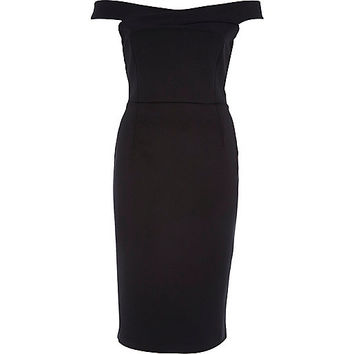 River Island Womens Black bardot midi dress