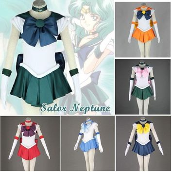 Anime Costume Sailor Moon Usagi Tsukino Naptune Mars Stars Mercury Jupiter Venus Cosplay Costume Uniform Dress Halloween Dress