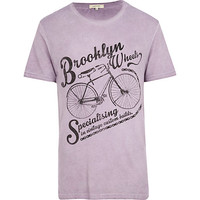 River Island MensLilac Brooklyn Wheels bicycle print t-shirt