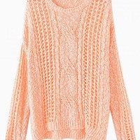 Orange Cable Knit Cutout Sweater