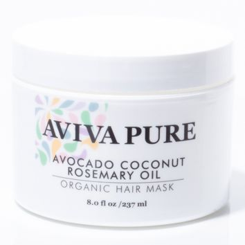 Avocado Oil, Coconut Oil, Rosemary Oil - Organic Hair Mask for Enhanced Hair Growth & Dry, Damaged Hair