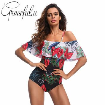 One Piece Swimsuit Women Red Floral Printed Off Shoulder Flounce Ladies Swimwear Sexy May Female Beach 2018 Monokini