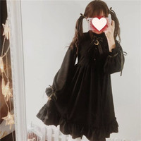 1pc Girls Black Gothic Lolita Dress Cute Moon Bow Long Sleeve High Waist Ruffled Hem Costume