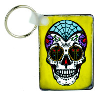 "Sugar Skull Day of the Dead Keychain ""Dia De Los Muertos"" Key Ring"