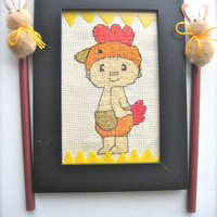 Easter decoration, Easter decor, Easter tree, Easter gift, Cross stitch, cross stitch  chicken, home decor
