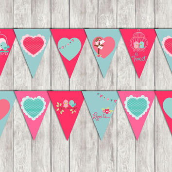 Love birds banner,instant download,diy,printable party decoration
