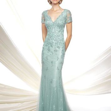 Mon Cheri 116D32 V-Neck Scalloped Lace Evening Dress