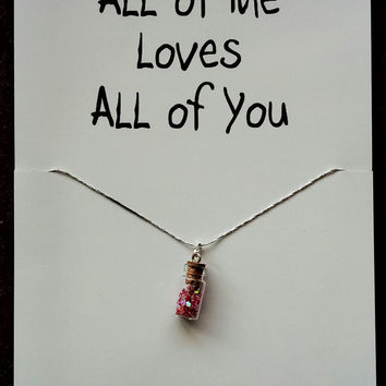 FREE SHIPPING I Love You Miss You Bottle Red Hearts Gift Valentine's Day Woman Pendant Engagement Necklace