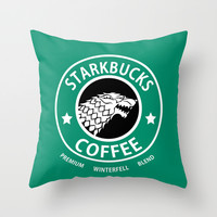 Game of Thrones Starkbucks Coffee Throw Pillow by JayEbz