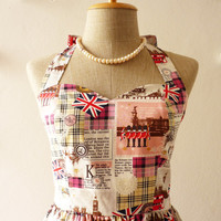 London Dress in Pink UK Flag London Bus Vintage Inspired Graphic Party Tea Dress Vintage Inspired Dress Once Upon a Time -Size XS,S,M,L,XL-