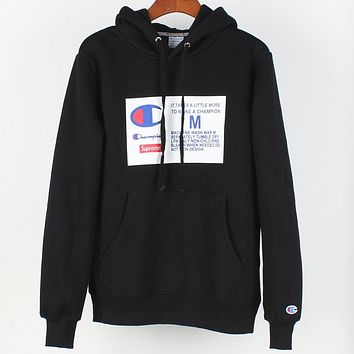 Champion x Supreme co-branded sports and leisure hooded sweater Black