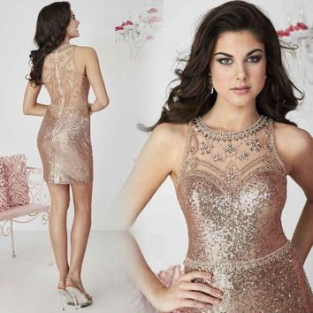 Champagne Sequins Beading Prom Cocktail Dresses Fashion Abendkleider Crystal Rhinestone Custom Formal Dress Great Gatsby Gowns
